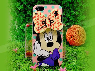 Mirror 3D Cartoon Disney Minnie Daisy Marie Cat Hard Case Cover For iphone 4S 5S
