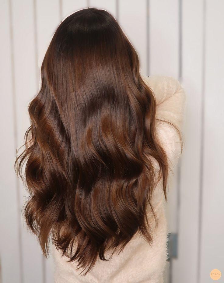 A cor do cabelo mais bonita Luxuoso castanho chocolate   – Hair
