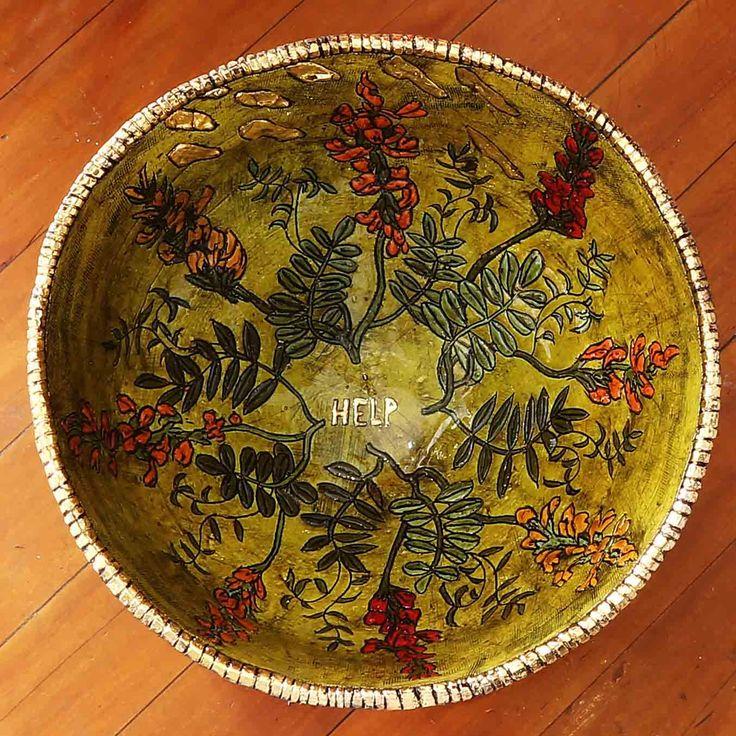 An original bowl by Lucinda Mudge entitled: Help, ceramic / gold luster, h 22cm, d 42cm. For more please visit www.finearts.co.za #LucindaMudge #Ceramic #SouthAfricanArtist