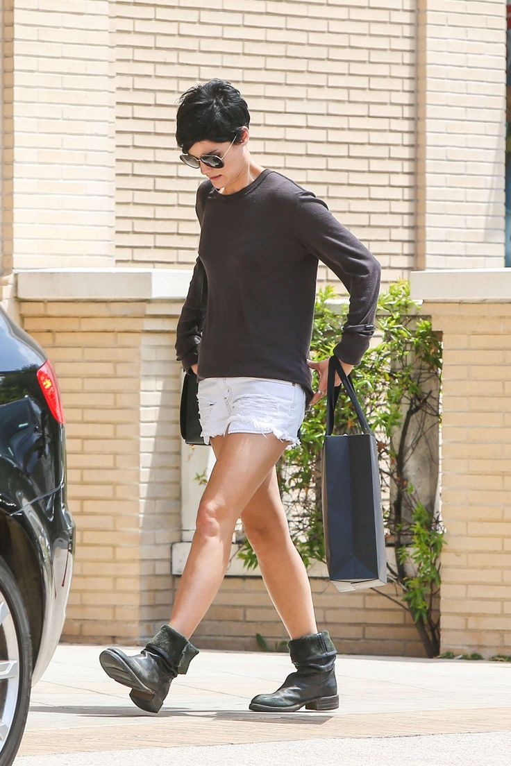 Jaimie Alexander in Shorts Out and About in Los Angeles, May 2014.