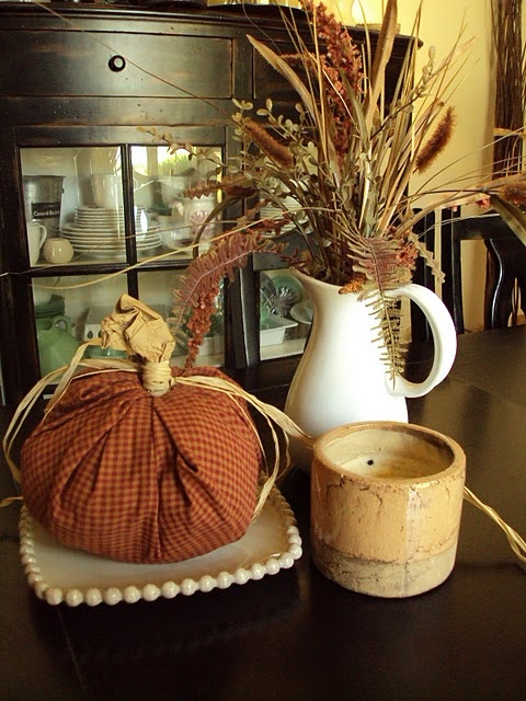 Fabric Pumpkins!  Yes....and you won't believe what is in the middle of this pumpkin!   LOVE this!