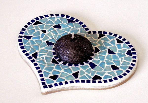 Mosaic Blue Candle Stand - Mosaik Kerzenständer - Mosaique Bougeoir - Ceramic Mini Bits Tiles - Kit Craft Alea Mosaik