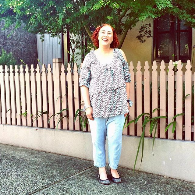 Bohemian Traders from Styling You Shop chambray pants and Three Parsons cold shoulder top #styleblogger #ootd