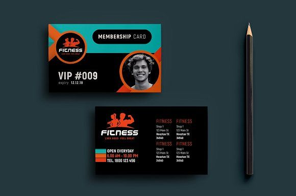 Gym Fitness Membership Card Template by BrandPacks on @creativemarket
