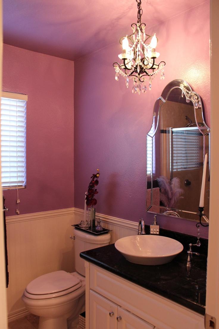 #purple #bathroom #chandelier My Girly Bathroom!