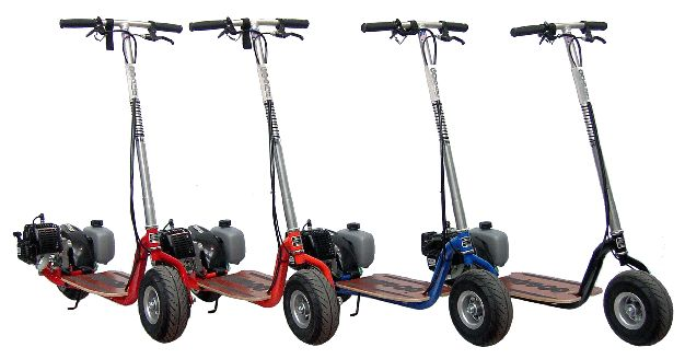 Gas Powered Scooters are the alternative low priced and fun transportation of the future, very fuel-efficient and portable gas powered vehicles.  We only sell brand name stand up gas scooters from established gas scooters manufacturers with Scooter replacement parts , free shipping and warranty back-up. Don't get tempted by the cheap gas scooter imitations or used scooters sold on the roadside.