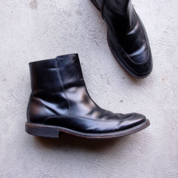 Vintage 90's black leather chelsea boots Kenneth Cole by manorborn