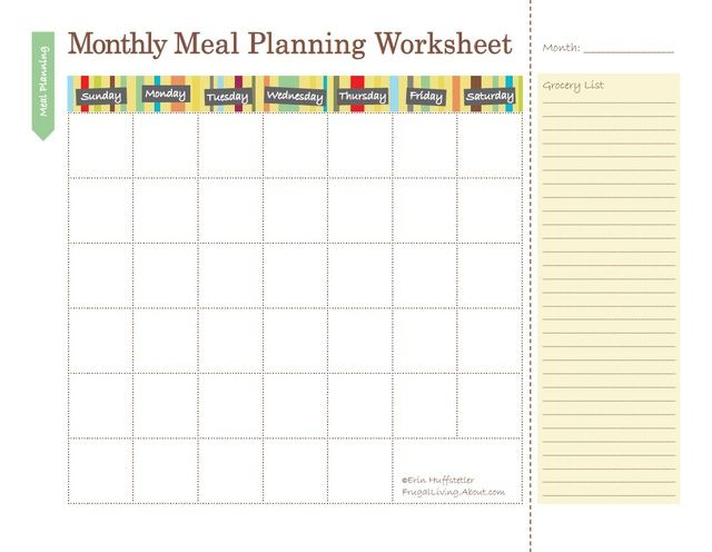 monthly meal plan template