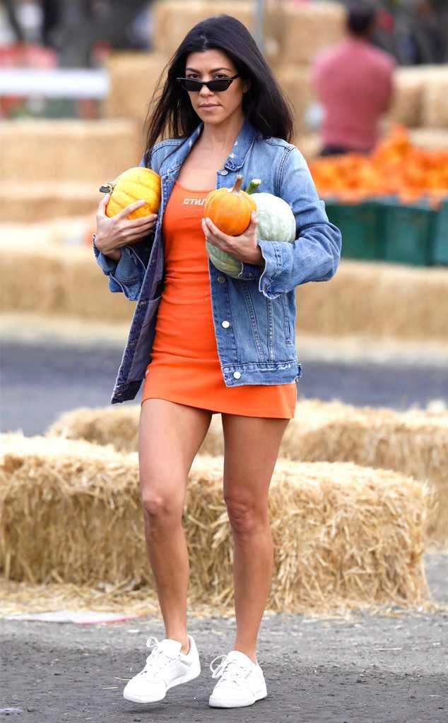 Kourtney Kardashian from The Big Picture: Today's Hot Photos  Happy Halloween! The reality star gets into the fall spirit at a pumpkin patch while wearing her Topshop denim jacket in L.A.