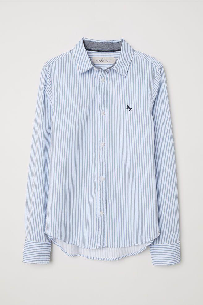 Bawelniana Koszula Niebieski Biale Paski Dziecko H M Pl Shirts Cotton Shirt Shirts Blue
