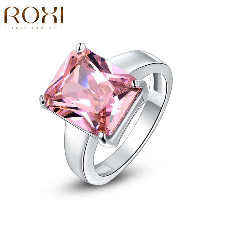 ROXI Brand Plating Luxury Love Link Ring Arrow Heart Cuting Crystal Rings Jewelry Women Pink Wedding Party Ring