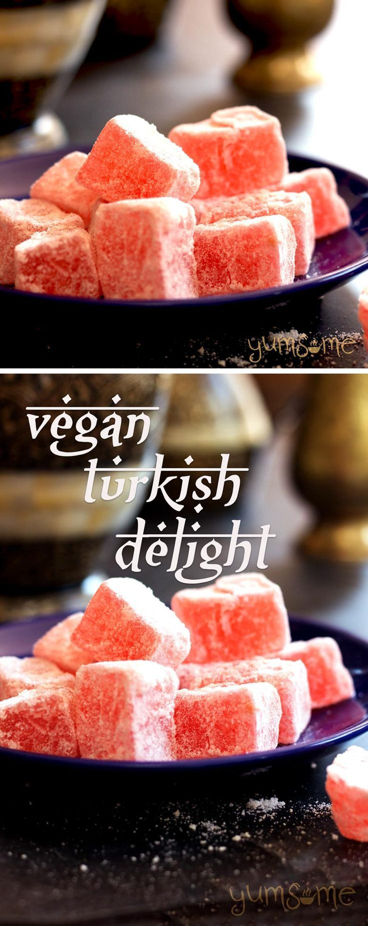 Aromatic, sweet, and soft, my simple vegan rose-flavoured Turkish Delight is really simple to make, and is a luxurious treat any day of the year… not just at Christmas time! | http://yumsome.com
