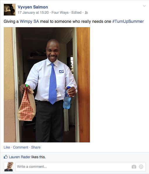 Vyvyen gave a Wimpy meal to someone she thought really needed it #TurnUpSummer
