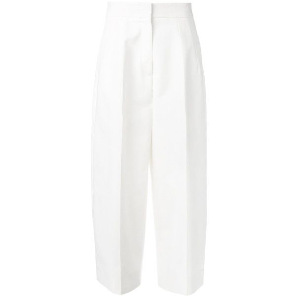 Jil Sander wide-legged cropped trousers ($1,040) ❤ liked on Polyvore featuring pants, capris, white, wide leg cropped pants, cropped pants, white pants, white wide leg pants and white crop pants