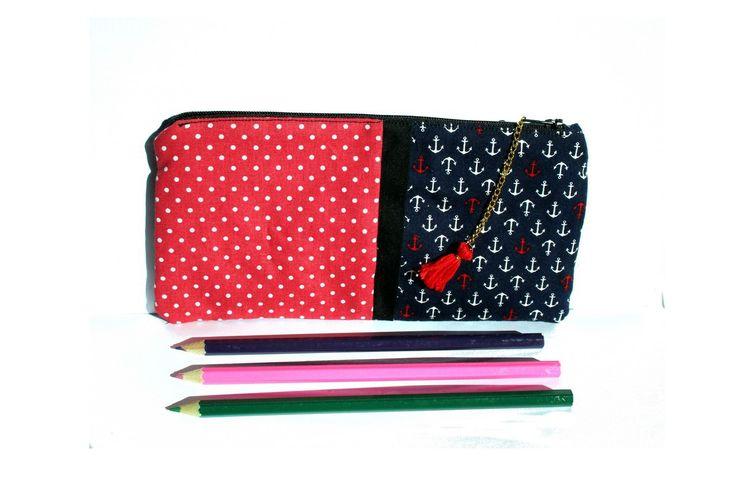 Trousse d'école, trousse à crayons, coton, motif petites ancres, avec fermeture : Trousses par les-petits-pois-sont-happy