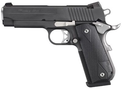"About SG1911FCA-45-NMR SIG 1911 Pistol 45ACP 4.25"" 8RD Blk G10"