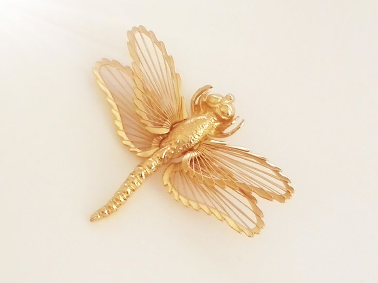 Vintage Dragonfly Brooch - 1966 Monet - Filigree Goldtone 1960s Costume Jewellery -  Open Work - Wire Brooch Pin - Insect Zoomorph Jewelry by AllThoseVintage on Etsy