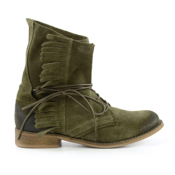 Legergroene dames schoenen met franjes! - Army green shoes for women with fringes!