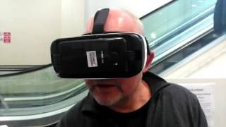 Julian Bream in the Muse Revolt video at the Virtual reality Travel Agency in Croydon Central Library