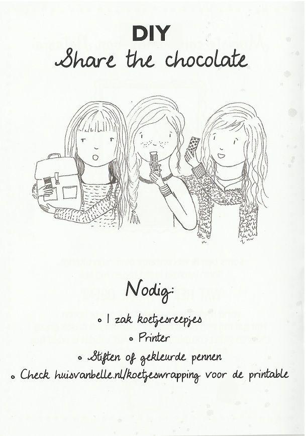 illustratie voor DIY 'share the chocolate' - Huis van Belle - door Vera Vos