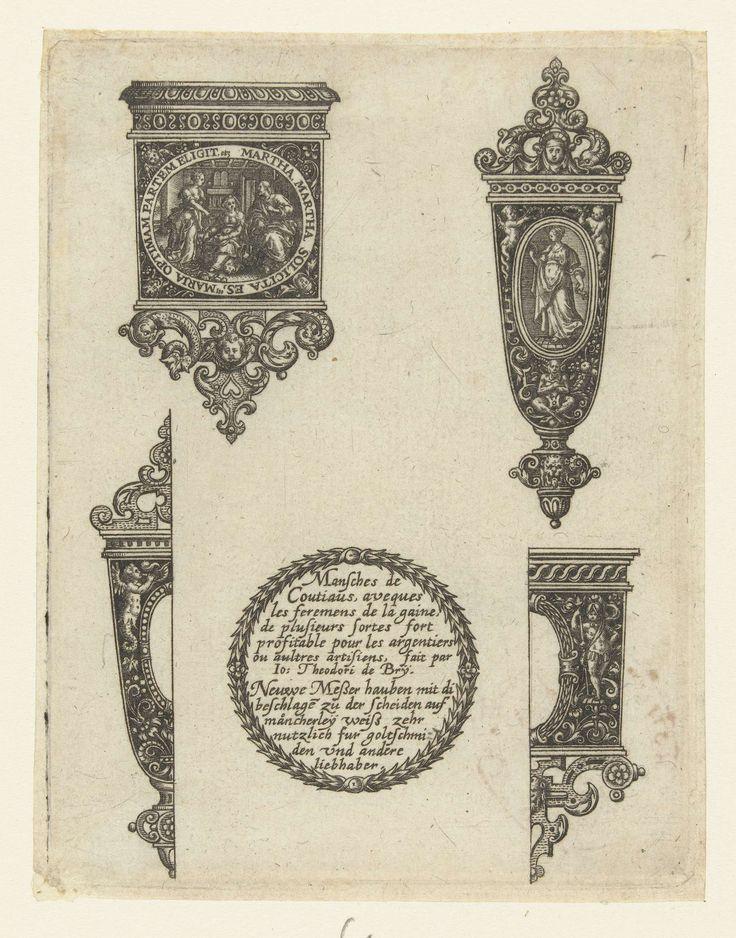 Johann Theodor de Bry | Titelblad, met titel in een krans van bladeren, Johann Theodor de Bry, 1571 - 1623 | Linksboven een mondblik met in het midden een ovaal met Christus in het huis van Martha en Maria. Rechtsboven een oirband met in het midden een ovaal met Prudentia. Titel geflankeerd door twee halve ontwerpen. Hoort bij serie van 5 bladen, elk met twee ontwerpen.