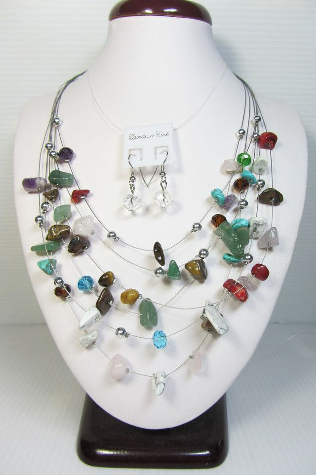 GEMSTONE NECKLACE WITH MATCHING EARRINGS QT102