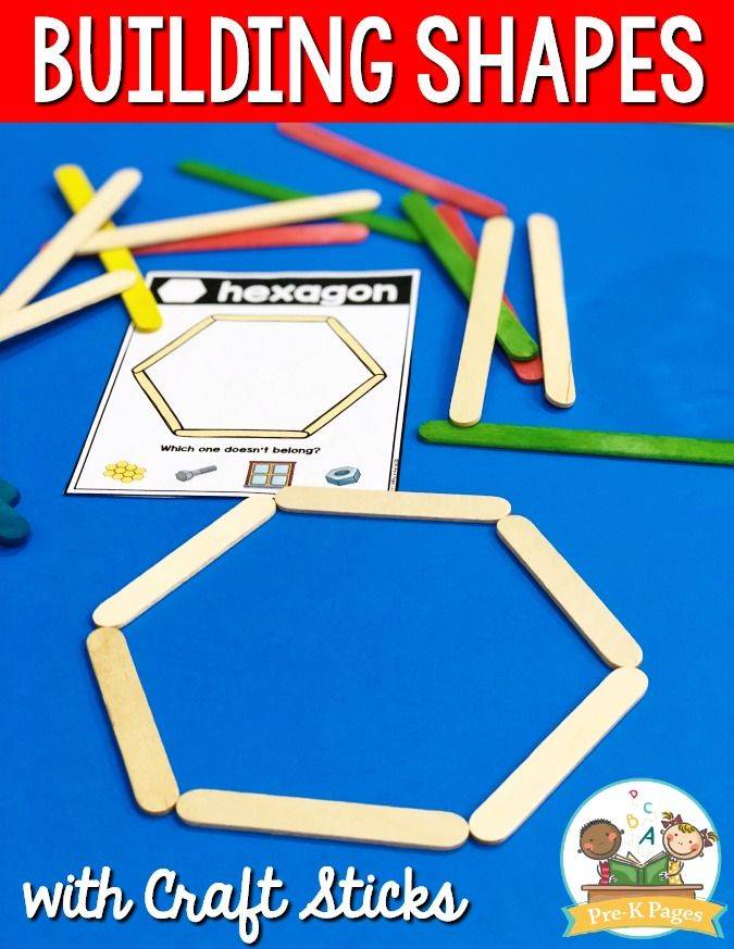 Craft Stick Shapes Building Activity for Preschool
