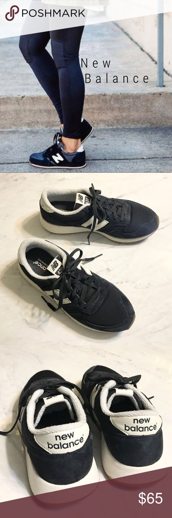 New Balance 420 navy sneakers LOOOOVE New Balance! SO classic and stylish! 😍 This classic sneaker features a sleek, streamlined look, superior cushioning and a lightweight feel. Lace-up style Removable insole Suede and textile upper/textile lining/rubber sole NEW.... worn outside for maybe  5 minutes....  so great condition!!   ******** I guess I'm the only one in the world who doesn't know these runs small, SO they are an 8 but really are best for a size 7.*******. (People pics for…