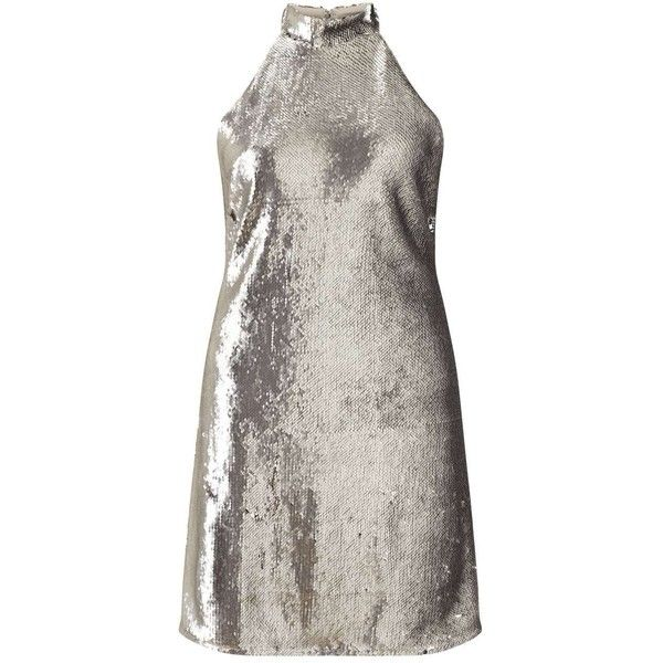 Miss Selfridge Sequin Silver Halter Dress ($53) ❤ liked on Polyvore featuring dresses, silver metal, halter neck dress, halter-neck dress, halter dress, sequin dresses and white halter cocktail dress