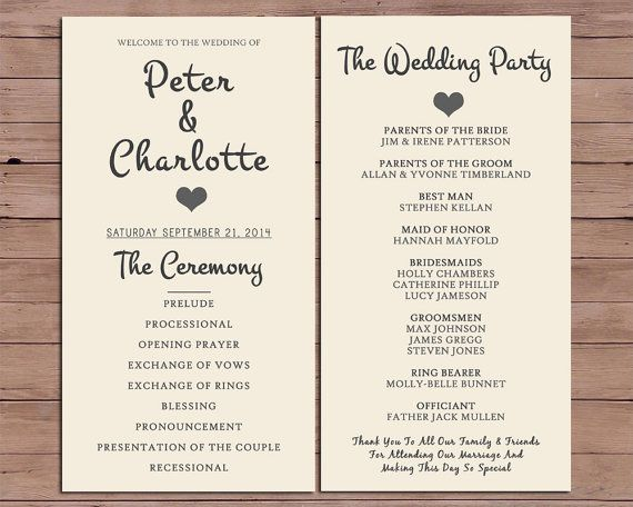 wedding ceremony itinerary template - the 25 best order of service template ideas on pinterest