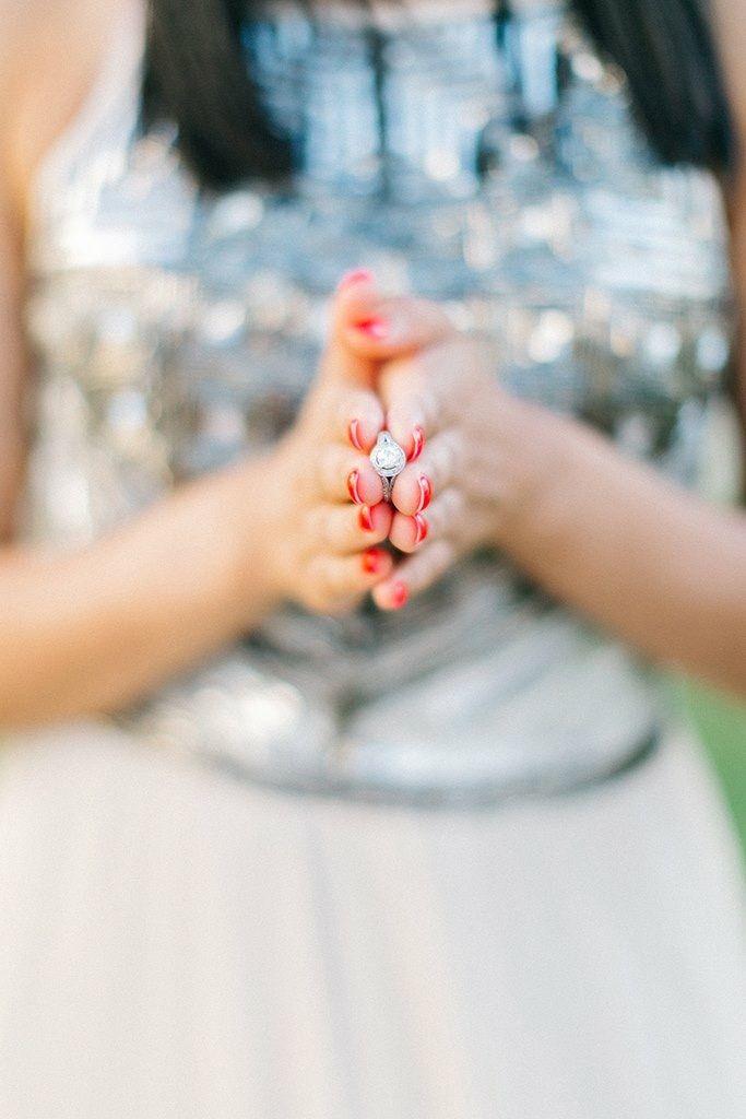 Stunning ring + pretty girl = lovely ring shot!  #engagementring #engagementbling #realwedding #weddinginGreece