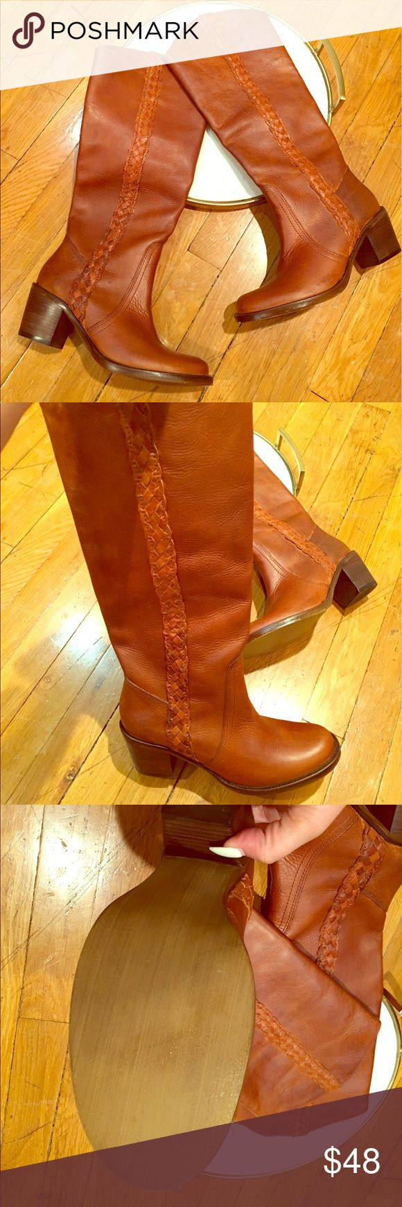Steve Madden Brown/tan/beige Knee High Boots Steve Madden Brown/tan/beige Knee High Boots leather Size 8.5 Cow Boy Boots Steve Madden Shoes Heeled Boots