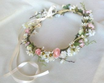 Boho Headband Bridal Flower crown Woodland hair garland halo wedding accessories Floral Fairy accessory circlet blush pink ivory headpiece
