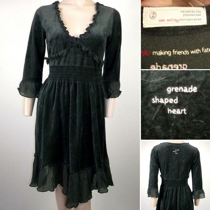 Odd Molly Tunic Dress 987 Velvet Velour Grey Size 2 M UK12/14 Casual womens
