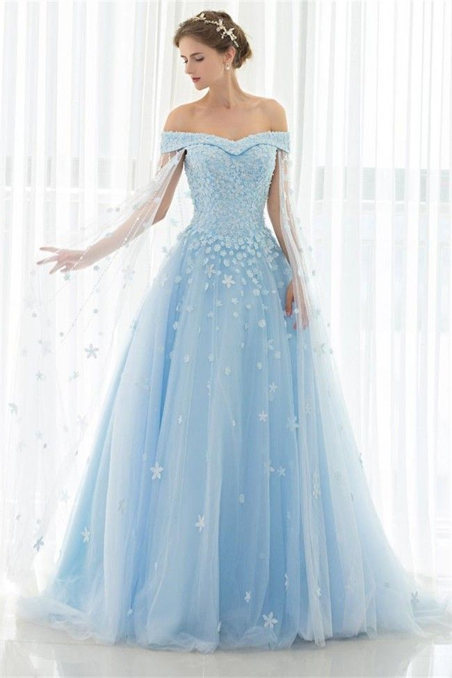 Fantastic Ball Gown Off The Shoulder Light Blue Tulle Floral Beaded Wedding Dress