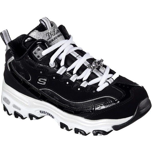 Skechers Women's D'lites - Style Revamp Black - Skechers ($75) ❤ liked on Polyvore featuring shoes, black, black laced shoes, skechers footwear, patent leather shoes, lace up shoes and black high top shoes