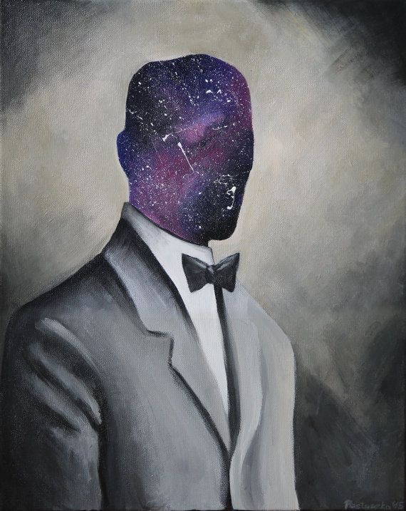 Galaxy Man, Acrylic Painting on canvas, 40x50 cm, original art #etsy #etsyshop #galaxy #portrait #surrealism #abstract #home #decor #acrylic #painting #cosmos #nebula