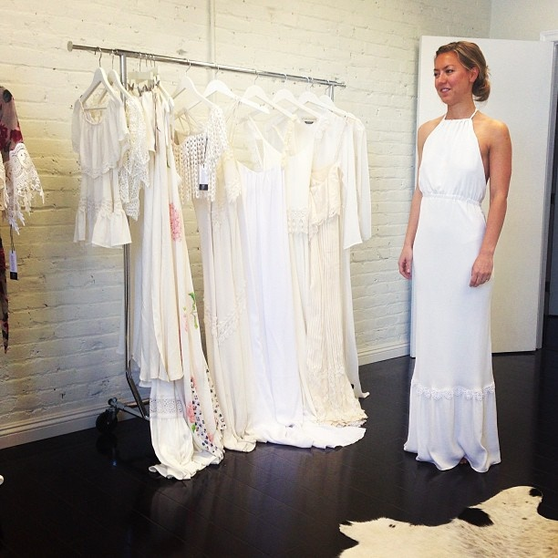 Custom fittings at the stone cold fox headquarters in los for Stone cold fox wedding dress