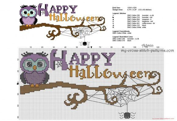 Gufi di Halloween su ramo schema punto croce ricamo