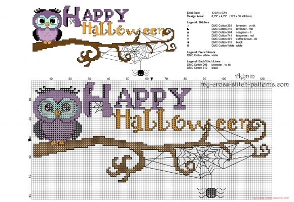Happy Halloween owl on a branch free cross stitch pattern