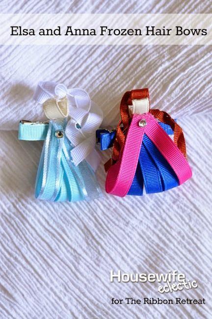 Elsa and Anna Frozen Hair Bows - The Ribbon Retreat Blog