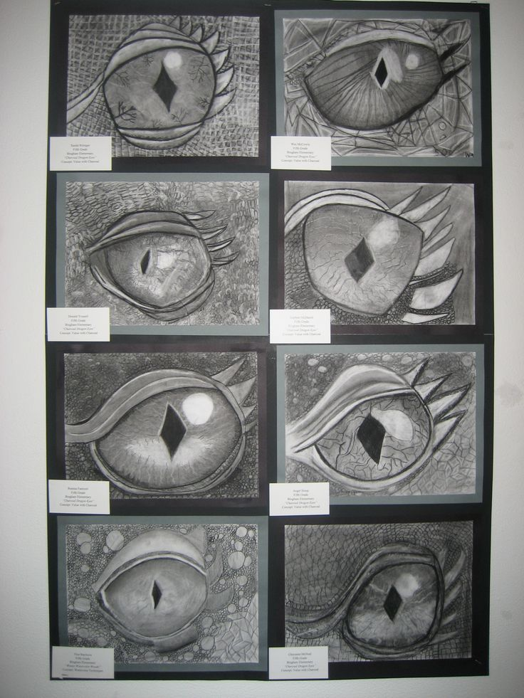 5th grade charcoal dragon eyes. My 5th graders look forward to this every year.