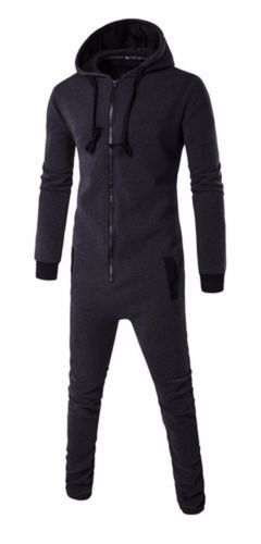 Adults-Mens-Non-Footed-Jumpsuit-one-Piece-Pajamas-Zipper-Hoodie-Playsuit
