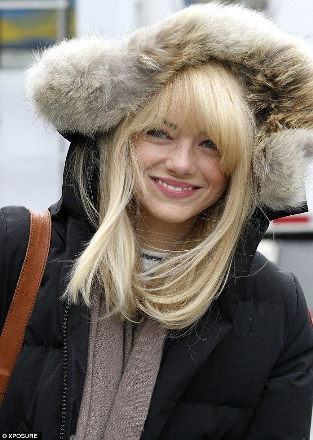 Wrapped up: Emma wore a fur-lined parka to the set to film scenes as Gwen Stacy in the Marvel sequel
