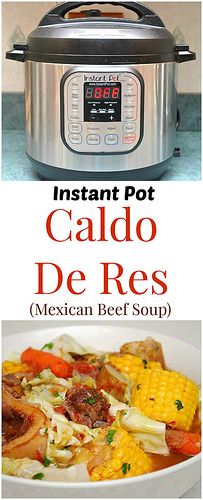 Instant Pot Caldo Res (Mexican Beef Soup) eats like a meal with a hearty bowl full of beef, corn, potatoes. baby carrots and a healthy dose of fresh cilantro and lime juice. The broth itself is nourishing, especially after pressure cooking the beef to retain all that flavor! | What's Cookin, Chicago?