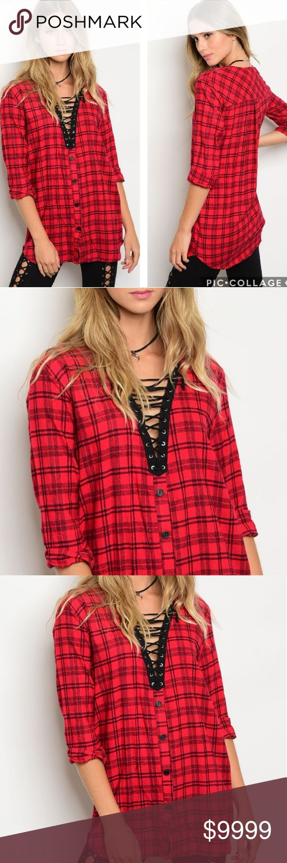 🔜COMING SOON! Lace Up Front Flannel Tunic Lace Up Front 3/4 Sleeve Plaid Tunic Top.  Fabric Content: 100% COTTON Tops Tunics