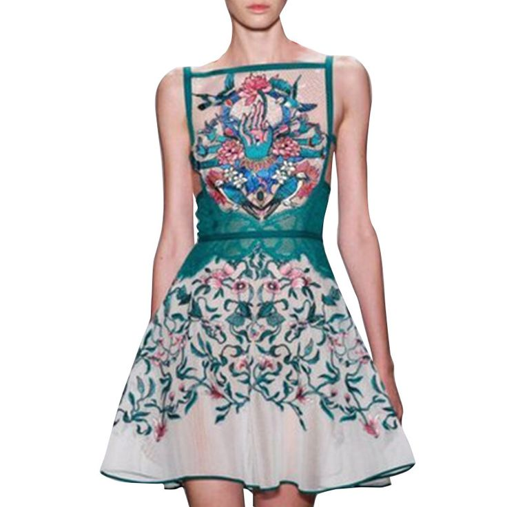2017 Spring Runway Sexy Backless Embroidered Dress