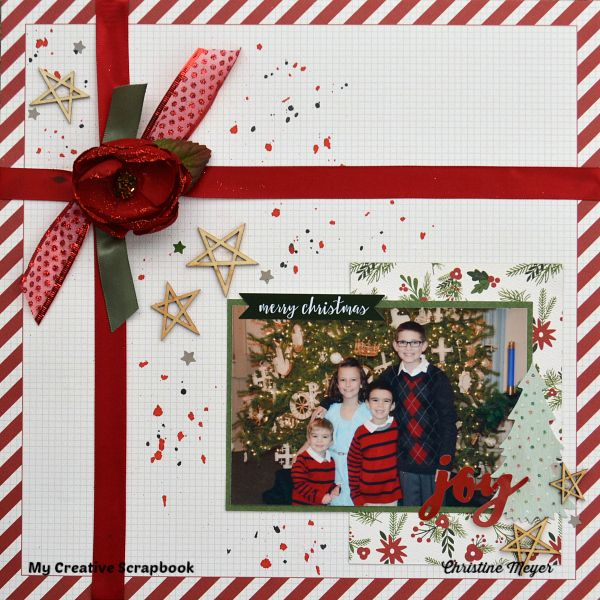 Christmas scrapbook layout using the Main Kit from My Creative Scrapbook and includes a video tutorial