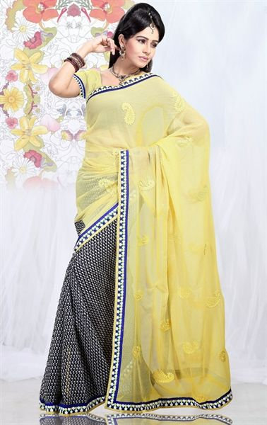 Picture of Gorgeous Black and Yellow Designer Chiffon Saree Online