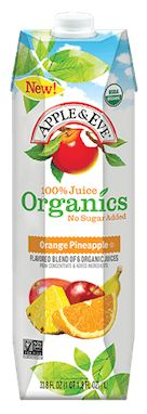 Apple & Eve Organics Orange Pineapple 100% Juice. Delicious blend of six organic juices including oranges blended with sweet, juicy pineapples.